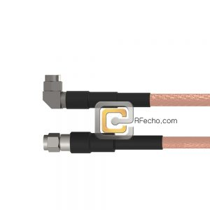 Right Angle SMA Male to SMA Male RG-142 Coax and RoHS F061-321R0-321S0-125-N