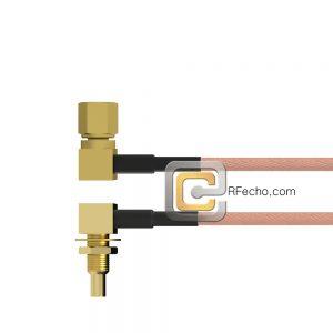 Right Angle SSMC Plug to Right Angle SSMC Jack Bulkhead RG178 Coax and RoHS F074-381R0-380R1-30-N