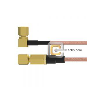 SSMC Plug to Right Angle SSMC Plug RG178 Coax and RoHS F074-381S0-381R0-30-N