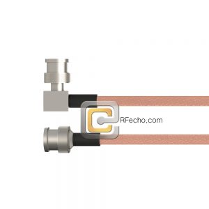BNC Male to Right Angle BNC Male RG-58 Coax and RoHS F070-221S0-221R0-40-N