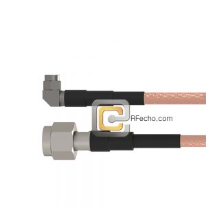 Right Angle SMA Male to TNC Male RG-58 Coax and RoHS F070-321R0-411S0-50-N